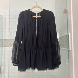 Gorg Free People top w/ lace detail front/slv. S